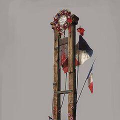 La guillotine, aussi appelée  la veuve, la raccourcisseuse patriotique, le rasoir public