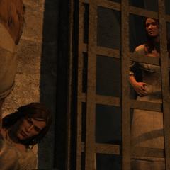 爱德华和阿·塔拜在狱中搭救玛丽和安妮