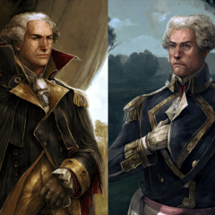 《起始》的乔治·华盛顿与拉法耶特的美术概念图