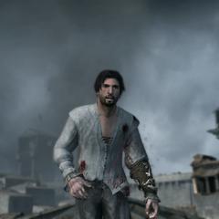 Ezio blessé par un tir d'arquebuse