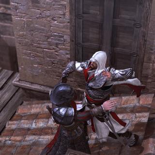 Ezio assassinant le troisième arquebusier