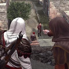 Ezio en La Volpe observeren de ontmoeting