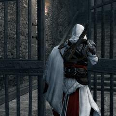 Ezio gaat de toren binnen.