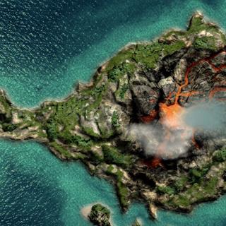 火山的俯视图