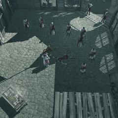 <b>Guilaume</b> et ses soldats à l'intérieur de la citadelle