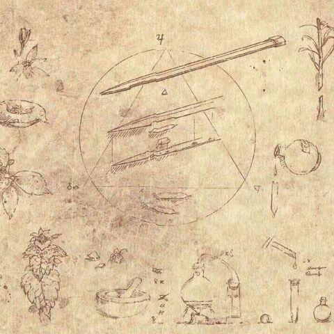 Page du Codex avec schéma de la <i>lame empoisonnée</i>