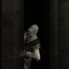Ezio verlaat de geheime doorgang.