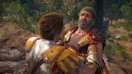Kasandra trzyma Nikolaosa nad przepaścią