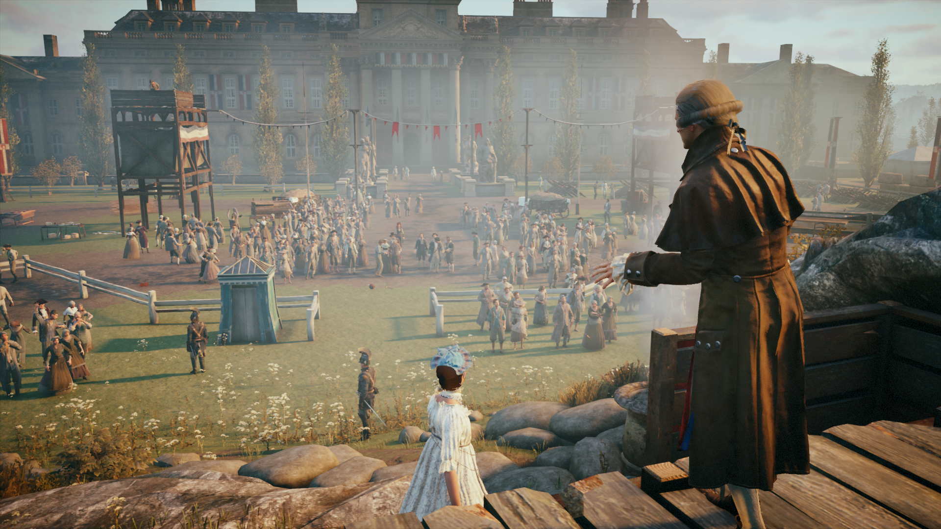 Robespierre pronunciando el discurso en el Festival del Ser Supremo. Imagen del juego Assassin's Creed: Unity.
