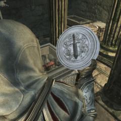 Ezio récupérant le Sceau de Leonius