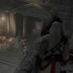 المغتالون يشهدون وصول فرسان الهيكل في هيكل سليمان.