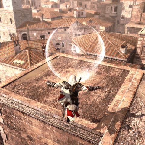 Ezio courant sur les toits