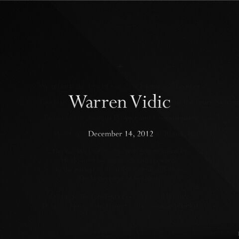 Warren Vidic's memorial message