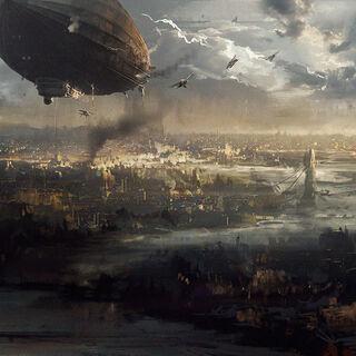 一战期间,齐柏林飞艇在伦敦上空飞过