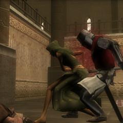 Maria impaling a guard
