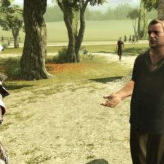 Ezio portant la première lettre à son destinataire