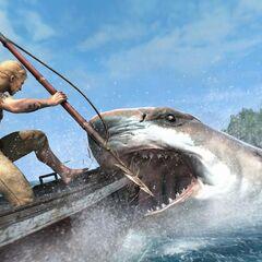 爱德华手握鱼叉,向一条鲨鱼奋力刺去
