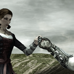 Ezio aidant Caterina à le rejoindre sur sa gondole