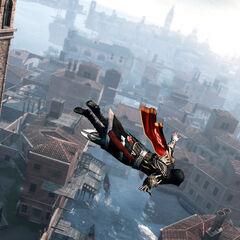 Ezio Auditore sautant d'un clocher de <a href=