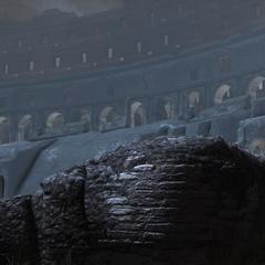 Ezio verlaat het Colosseum.