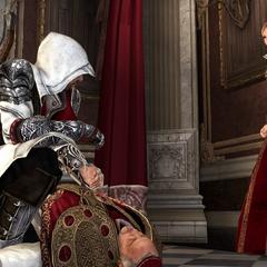 Lucrezia vertelt Ezio waar de appel zich bevindt.