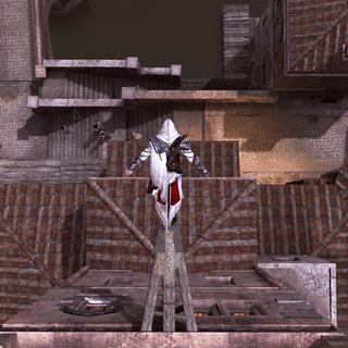 Ezio performing a leap of faith