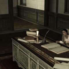 克劳迪娅在奥迪托雷别墅是办公桌上