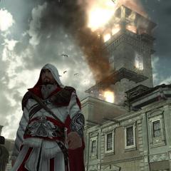 Ezio s'éloignant d'une <b>tour</b> en flammes