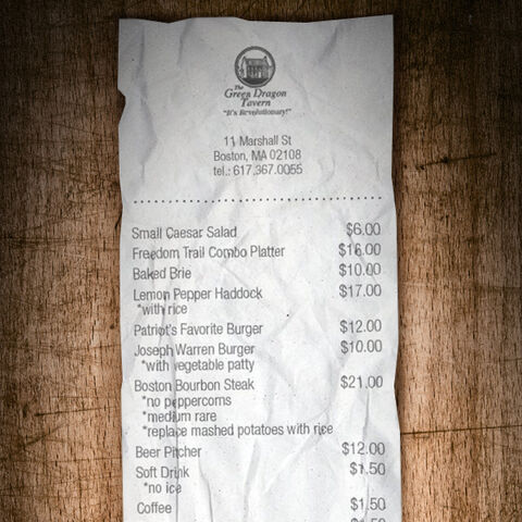 The receipt of the Assassin team's order