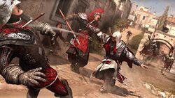 Ezio combatte con spada corta e pugnali da lancio