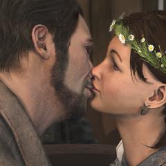 Norris et Myriam s'embrassant