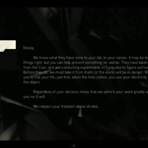 刺客组织致特斯拉的信