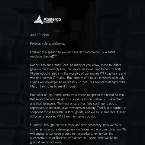 演讲详细介绍了阿布斯泰戈的计划