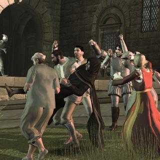 La foule en colère emportant Savonarola