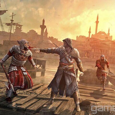 Ezio zieht die Wache mit seinem Haken heran