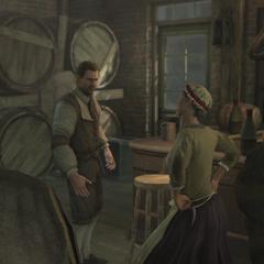 Catherine et Cornelius se disputant à l'arrivée des Templiers