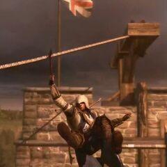 Connor rutscht mit dem Tomahawk an einem Seil entlang