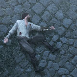 Ezio s'évanouissant de fatigue