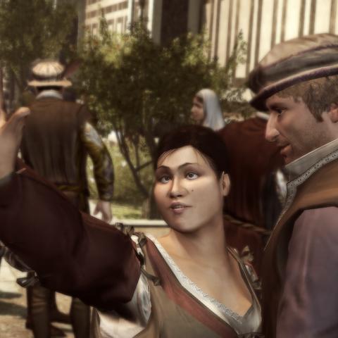 Duccio geeft de vrouw een ring.
