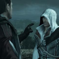 Mario réprimandant Ezio pour avoir manqué de respect aux morts