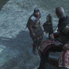 Leandros geeft zijn mannen het bevel om Ezio te vermoorden