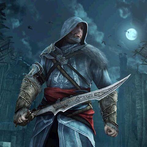 Ezio gebruikt het zwaard van Vlad.