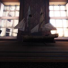 一艘船舰的模型