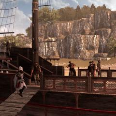 在船上与奴隶贩子碰面的埃齐奥