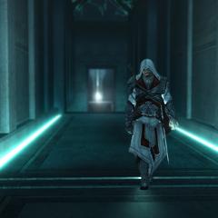 Ezio loopt de kelder uit nadat hij de appel heeft achtergelaten.