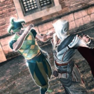 Ezio assassinant le troisième conspirateur