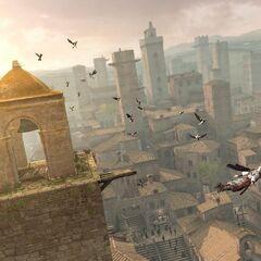 Ezio在塔上实施信仰之跃