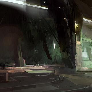 Concept art van de Grote Tempel te zien op <a class=