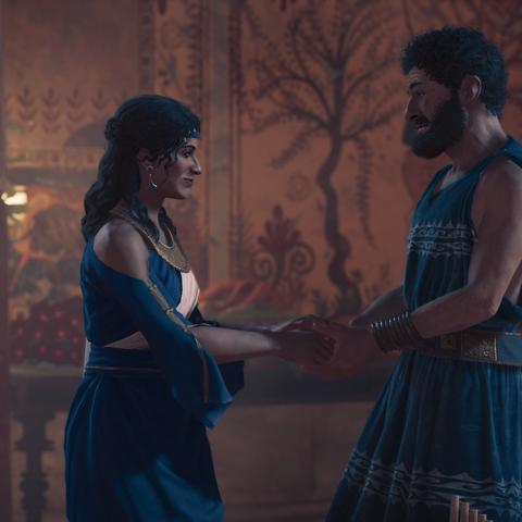 普罗泰戈拉与阿斯帕西娅握手