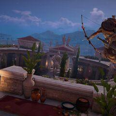 Bayek bandant son arc vers un soldat dans l'Acropole.
